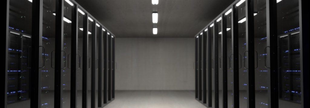 Racked servers at a datacentre
